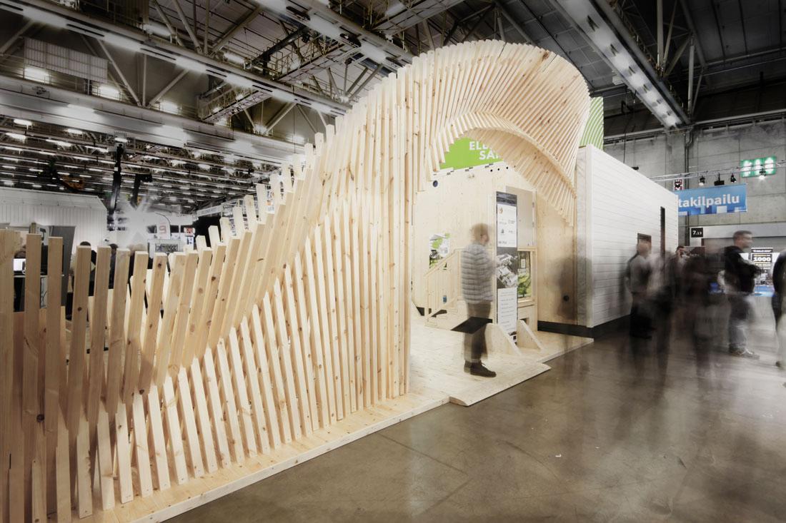 Wooden Exhibition Stand : Geometria wooden exhibition structure